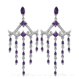 Lusaka Amethyst (Sqr and Mrq), Natural White Cambodian Zircon Chandelier Earrings (with Push Back) in Rhodium Plated Sterling Silver 4.870 Ct. Silver wt 13.00 Gms.