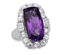 AA Lusaka Amethyst and Natural Cambodian Zircon Ring in Rhodium Overlay Sterling Silver 9.45 Ct, Sil