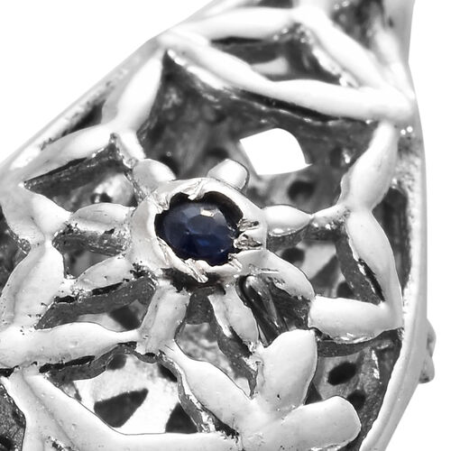GP Diamond (Rnd and Bgt), Kanchanaburi Blue Sapphire Earrings (with Push Back) in Platinum Overlay Sterling Silver 0.520 Ct.