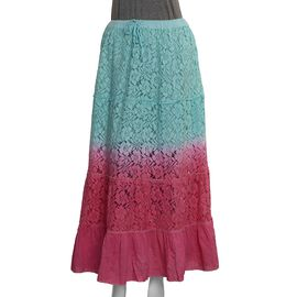 One Time Deal- Ombre Lace Maxi Skirt (Size 97 X 76 Cm) - Turquoise and Pink