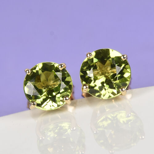9K White Gold AA Hebei Peridot Stud Earrings (with Push Back) 1.85 Ct.