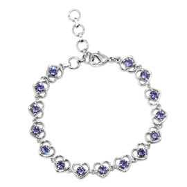 J Francis - Crystal from Swarovski Tanzanite Colour Crystal (Rnd) Heart Bracelet (Size 6.5 with 1 in