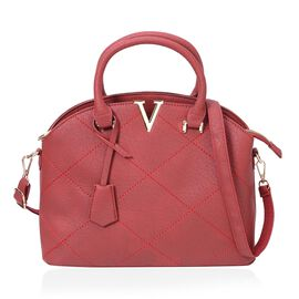 Glamour Red City Tote Bag with External Zipper Pocket and Removable Shoulder Strap (Size 32x25x12x10