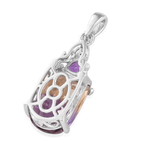 AA  Anahi Ametrine, Amethyst and Natural White Cambodian Zircon Pendant in Platinum Overlay Sterling Silver 7.000 Ct