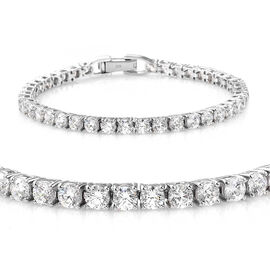 J Francis - Platinum Overlay Sterling Silver (Rnd) Tennis Bracelet (Size 7.5) Made with SWAROVSKI ZIRCONIA, Silver wt 10.64 Gms.