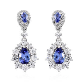 Tanzanite (Pear), Natural Cambodian Zircon Dangle Earrings (with Push Back) in Platinum Overlay Ster