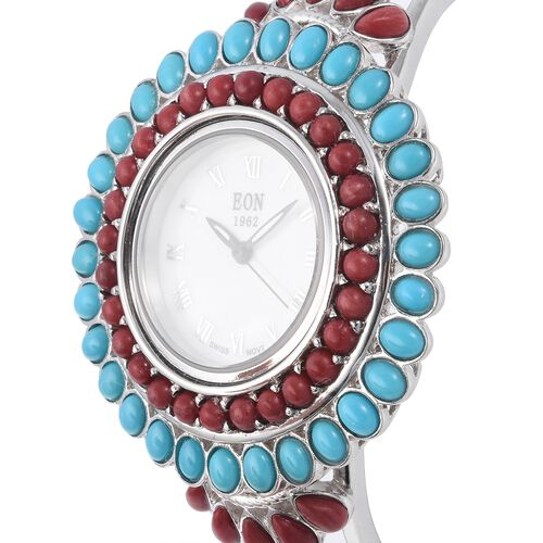 TJC Special-EON 1962 Swiss Movement Coral and Sleeping Beauty Turquoise Bangle Watch (Size 7.5) in Sterling Silver (Silver wt 29.45 Gms) 11.080 Ct.