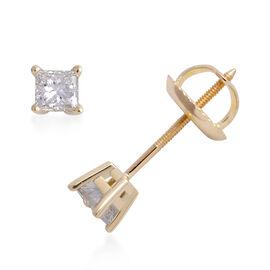 ILIANA 0.40 Ct Princess Cut Diamond Solitaire Stud Earrings in 18K Gold EGL Certified SI GH