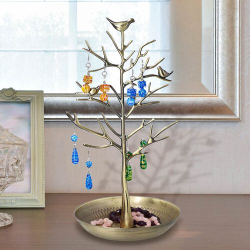 Antique Birds on Tree Stand Jewellery Holder Display in Gold Colour