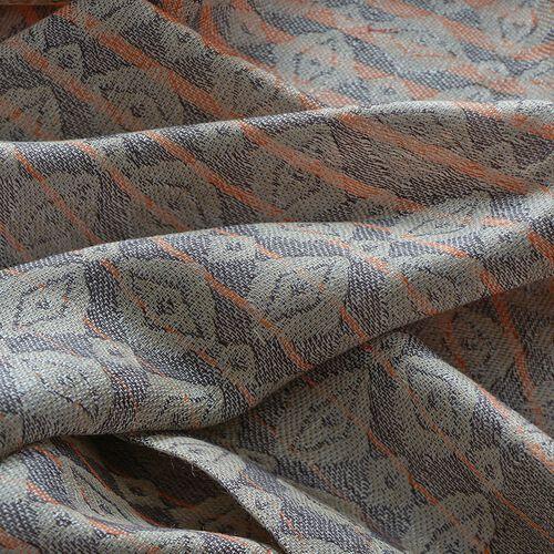 100% Superfine Modal Orange, Green and Brown Colour Stripy Pattern Shawl (Size 70x180 Cm)