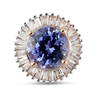 One Time Deal- 9K Yellow Gold Tanzanite (Rnd) and White Diamond Pendant 1.05 Ct.