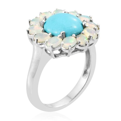 Arizona Sleeping Beauty Turquoise (Rnd 2.30 Ct), Ethiopian Welo Opal Flower Ring in Platinum Overlay Sterling Silver 3.500 Ct.