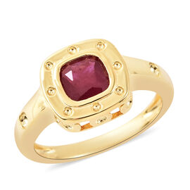 RACHEL GALLEY African and Burmese Ruby Journey of Life Theme Ring in Yellow Gold Overlay Sterling Si