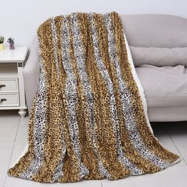 Supersoft Faux Fur Sherpa Blanket with Leopard Pattern (Size 150x200 cm) - White and Beige and Yello