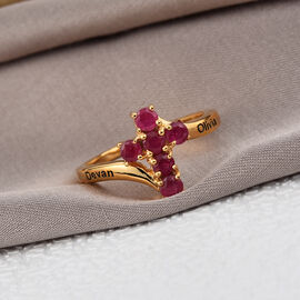 Peronalise Engraved Ruby Cross Ring in Silver