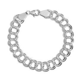 JCK Vegas Collection- Sterling Silver Double Link Adjustable Bracelet (Size 7.5), Silver wt 17.74 Gm