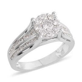New York Close Out- 14K White Gold Diamond (Center Rnd 0.25 Ct) (I1-I2) Ring 1.200 Ct, Gold wt 5.50 Gms.