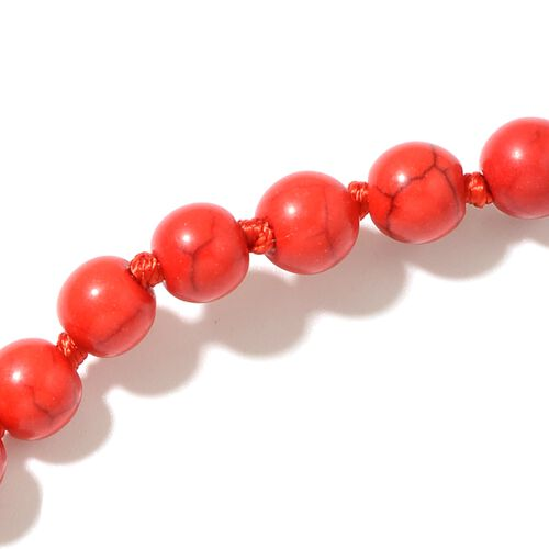 Hongkong Show Deal Red Howlite Beads Necklace (Size 100) 817.000 Ct.