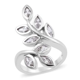 J Francis Made with SWAROVSKI ZIRCONIA Bypass Ring (Size L) in Platinum plated Sterling Silver 5.77 Grams