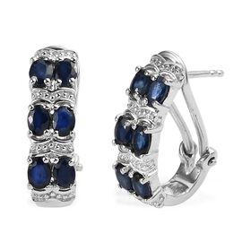 2.50 Ct AA Kanchanaburi Blue Sapphire J Hoop Earrings in Platinum Plated Sterling Silver 5.04 Grams