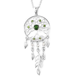 LucyQ Russian Diopside (Rnd), Natural Cambodian Zircon Dream Catcher Pendant with Chain (Size 16 wit