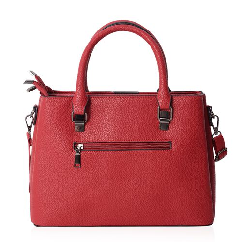 Close Out Deal  Embroidery Ture Red Rose Colour Tote Bag with Removable Shoulder Strap (Size 32x23.5x12 Cm)