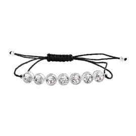 J Francis - Crystal from Swarovski White Crystal (Rnd) Adjustable Bracelet (Size 6.5 to 9.5) in Ster