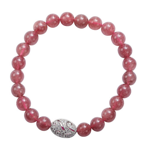 Strawberry Quartz and Simulated Diamond Beads Stretchable Bracelet (Size 7.5) in Silver Tone 89.50 C