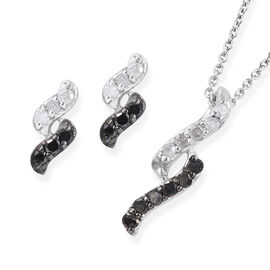 Black and White Diamond (Rnd) Earrings and Pendant With Chain (Size 20) in Platinum Overlay Sterling