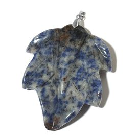Sodalite Leaf Pendant in Rhodium Plated Sterling Silver 142.000 Ct.