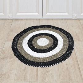 Bali Collection - 100% Handmade Woven Seagrass Rug (Size:100x1x100Cm) - White and Black