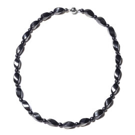 Shungite Beaded Necklace in Rhodium Plated Sterling Silver 20 Inch