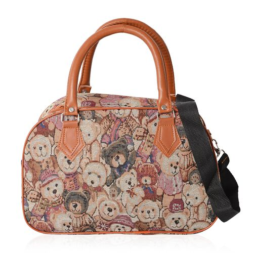 Tan, Off White and Multi Colour Bear Pattern Tote Bag with Removable Shoulder Strap (Size 35x23x13.5 Cm)
