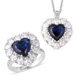 2 Piece Set - Simulated Blue Sapphire (Hrt), Simulated Diamond Ring in Stainless Steel