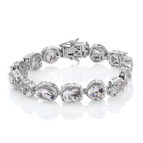 White Topaz and Natural Cambodian Zircon Bracelet (Size 6.75) in Platinum Overlay Sterling Silver 18