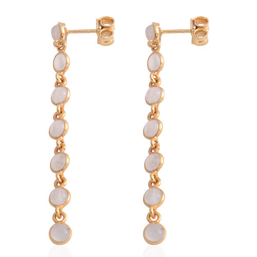 Sri Lankan Titanium Moonstone (Rnd) Dangle Earrings (with Push Back) in Yellow Gold Overlay Sterling Silver 2.800 Ct. Silver wt. 3.00 Gms.