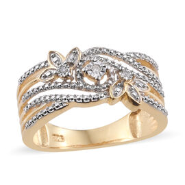 Diamond (Rnd) Ring in Platinum and Yellow Gold Overlay Sterling Silver