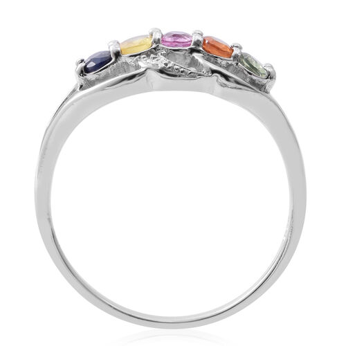 Rainbow Sapphire (Ovl) 5 Stone Ring in Rhodium Plated Sterling Silver 1.150 Ct.