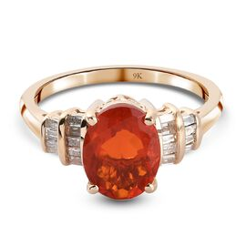 Super Find- 9K Yellow Gold AAA Jalisco Fire Opal and White Diamond Ring 1.19 Ct.