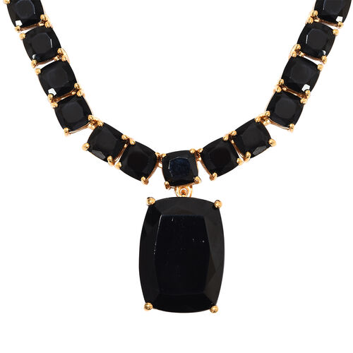 53 Carat Natural Boi Ploi Black Spinel Necklace with Chain in 14K Gold Plated Silver 18 Inch