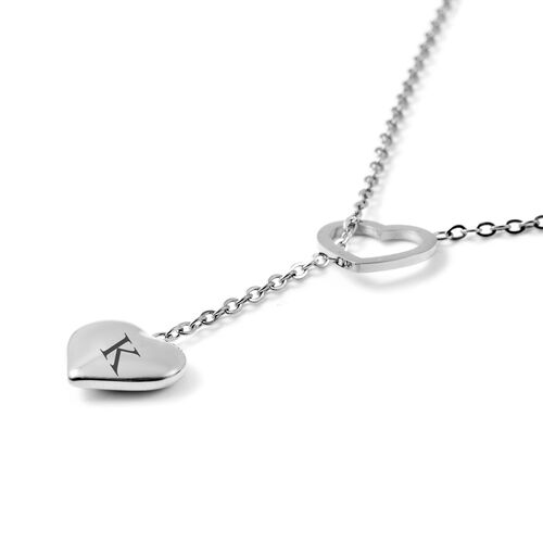 Personalise Engravable Stunning Heart Necklace, Size 17+2 Inch, Stainless Steel