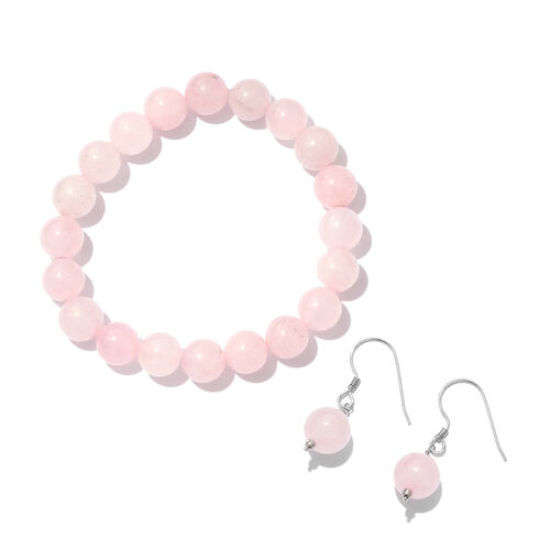 Set of 2 - Rose Quartz Hook Earrings and Bracelet (Size 7.5) in Platinum Overlay Sterling Silver 125.000 Ct.