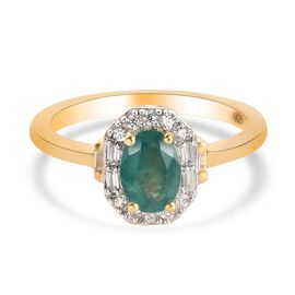 Zircon, Grandidierite Main Stone With Side Stone Ring in 14K Gold Overlay Sterling Silver 0.19 ct  1