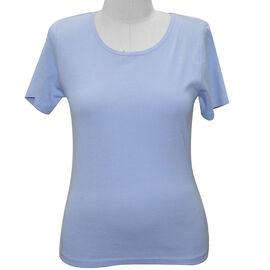SUGARCRISP 100% Cotton Short Sleeve Rib TShirt - Blue Heron