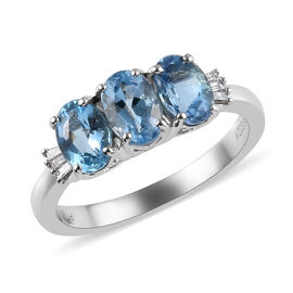 RHAPSODY 1.19 Ct AAAA Santa Maria Aquamarine and Diamond Trilogy Ring in Platinum 4.20 Grams VS EF