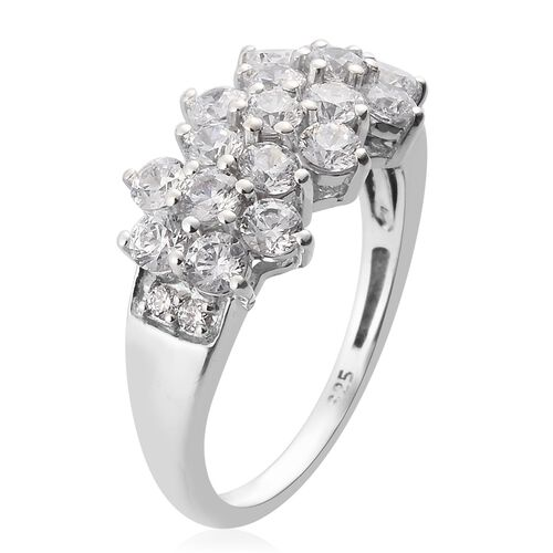 J Francis - Platinum Overlay Sterling Silver Ring Made with SWAROVSKI ZIRCONIA 2.70 Ct.
