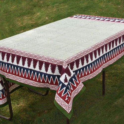 100% Cotton Green, Red and Multi Colour Hand Block Printed Table Cover (Size 150x150 Cm)