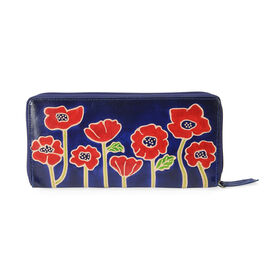 100% Genuine Leather RFID Protected Handmade Poppy Flower Printed Wallet with Zip Closure (Size 22x2
