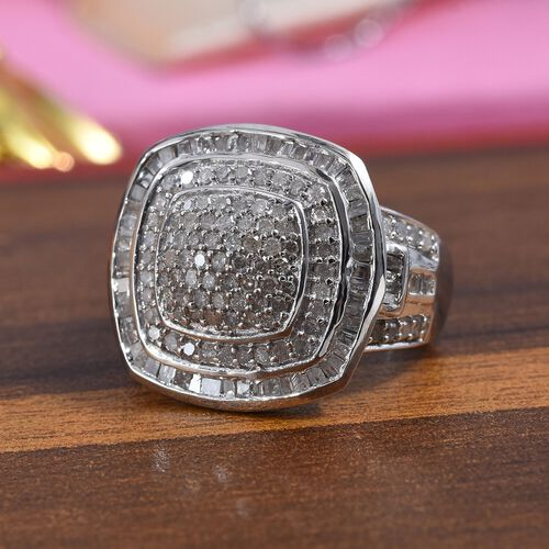 1.25 Ct Diamond Cluster Ring in Platinum Plated Silver 5.80 Grams