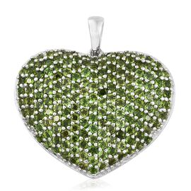 Limited Edition- Designer Inspired Russian Diopside (Rnd) Heart Pendant in Platinum Overlay Sterling